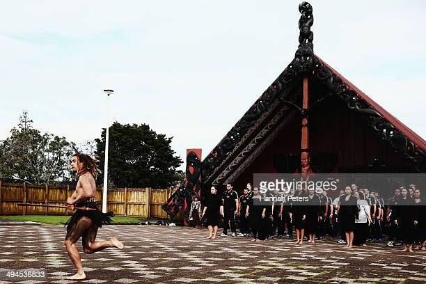 Maori warrior welcomes players and IRB representatives onto the marae during the Junior World Championship Opening Ceremony at Orakei Marae on May 30...