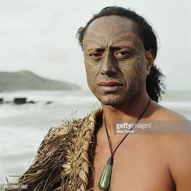 Maori warrior with Ta Moko tattoo on face, portrait