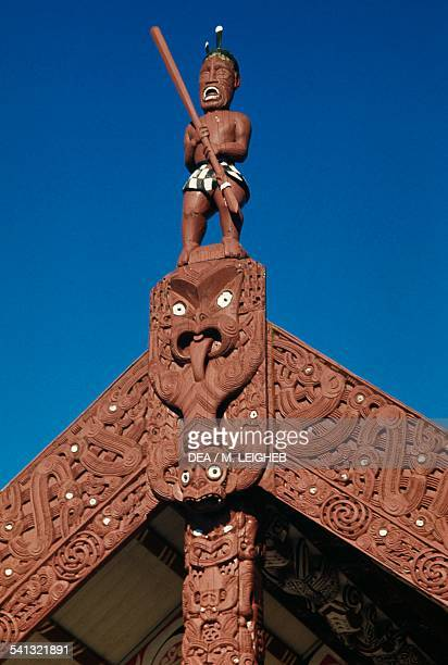 Maori warrior wooden carving Maori Meeting House Ohinemutu village Waitangi Bay of Islands New Zealand
