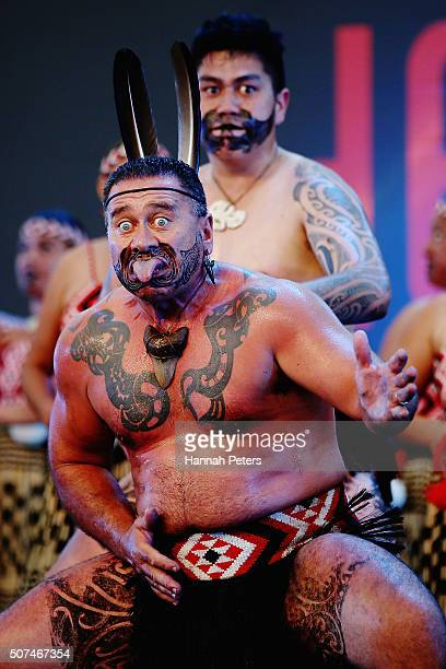 Maori Warriors perform kapa haka during the Tamaki Herenga Waka Festival on January 30 2016 in Auckland New Zealand The inaugural festival aims to...