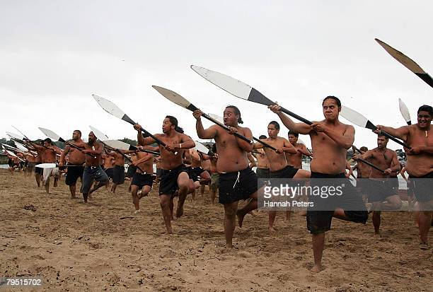 Maori warriors practice a haka at Te Ti Bay the day before Waitangi Day on February 5 2008 in Waitangi New Zealand Waitangi Day is the national day...
