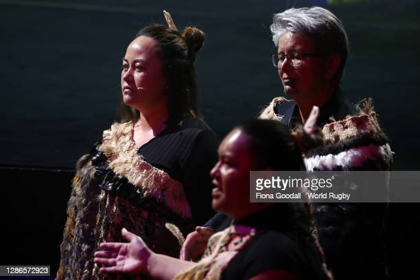 Maori welcome greets guests during the Rugby World Cup 2021 Draw event at the SKYCITY Theatre on November 20, 2020 in Auckland, New Zealand.