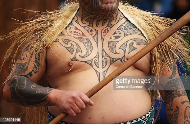 Maori welcomes the Australian Wallabies at the IRB Rugby World Cup 2011 official team welcome ceremony at Aotea Square on September 6 2011 in...