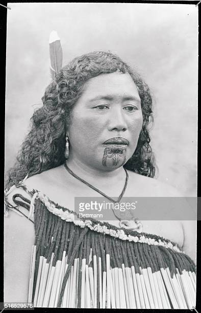 Maori woman with tattoo mark known as Kauwae The custom mainly consists in these days of tattooing on the chin and lips of nobility although it was...