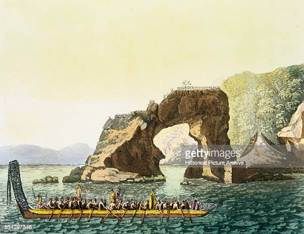 Maoris in War Canoe near Lookout Point Engraving by Paulo Fumagalli and Others after James Cook and Sidney Parkinson