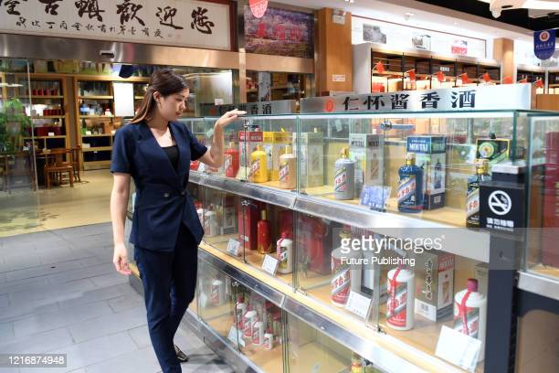 Maotai liquor is placed in a liquor store in Maotai town. Zunyi City, Guizhou Province, China, June 2, 2020. On that day, the total market value of...
