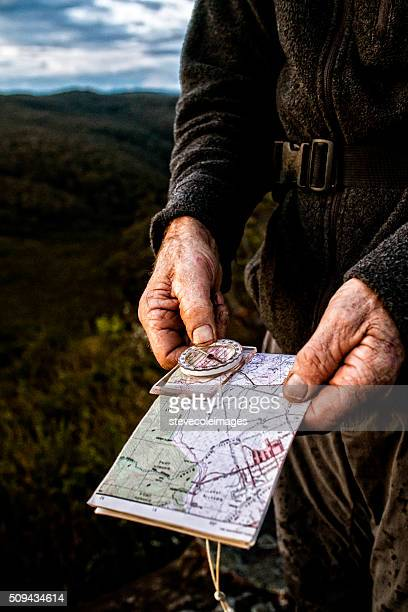 map and compass - blue mountains national park stock pictures, royalty-free photos & images