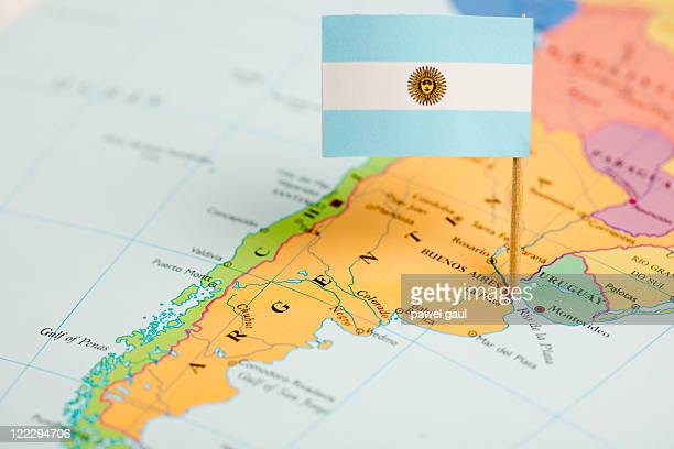 map and flag of argentina - argentina stock pictures, royalty-free photos & images