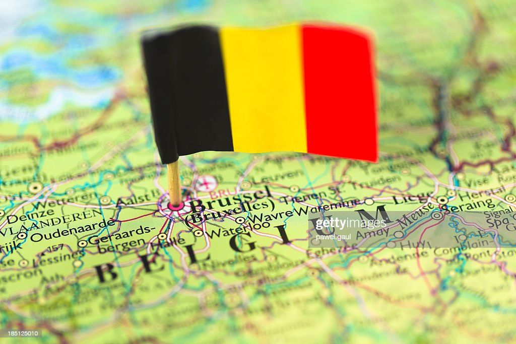 Map and flag of Belgium : Stock Photo