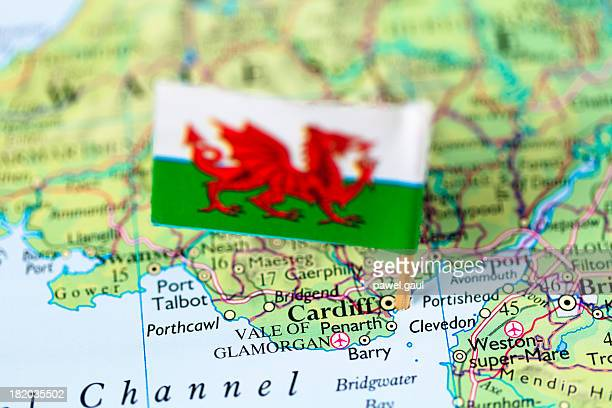Map and flag of Cardiff, Wales