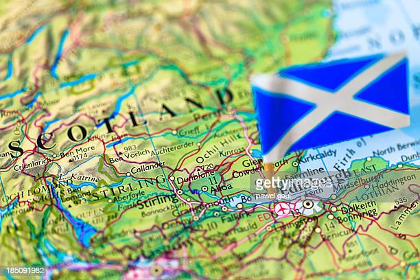 Map and flag of Edinburgh, Scotland
