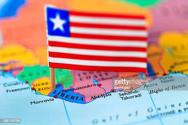 map and flag of liberia - monrovia liberia stock photos and pictures