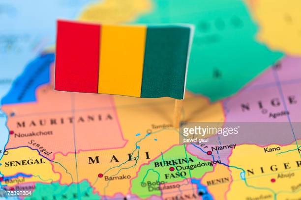 Map and flag of Mali