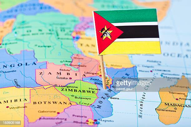 map and flag of mozambique - mozambique stock pictures, royalty-free photos & images