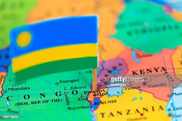 bandera y mapa de ruanda - ruanda fotografías e imágenes de stock