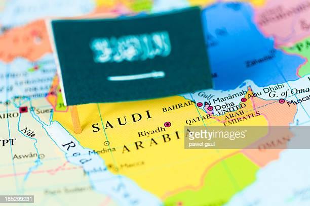 Map and flag of Saudi Arabia