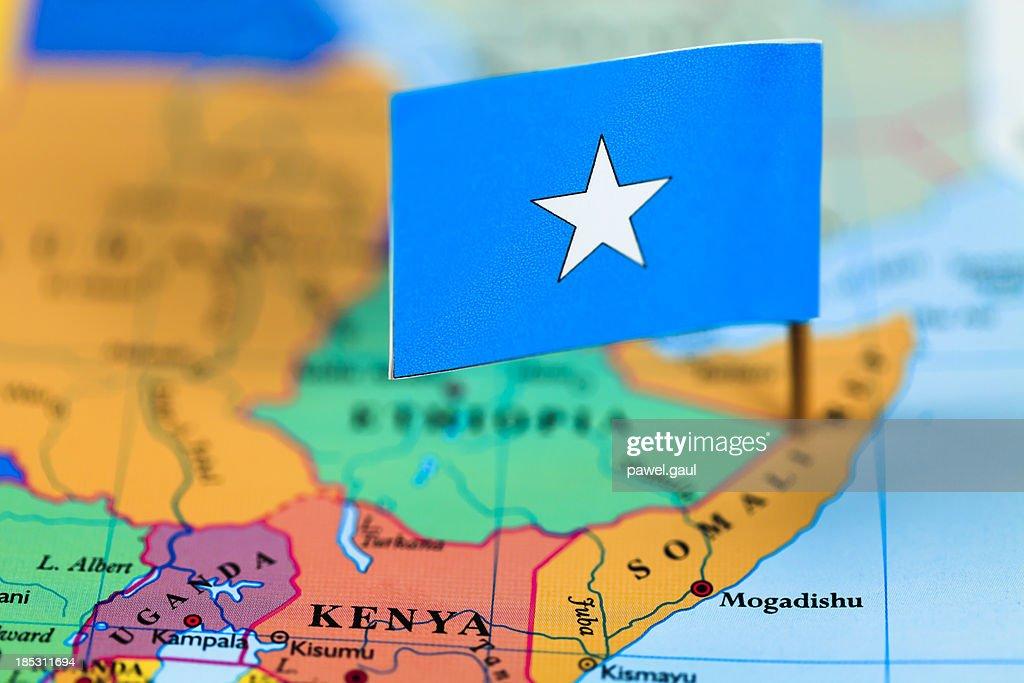 Map and flag of Somalia : Stock Photo