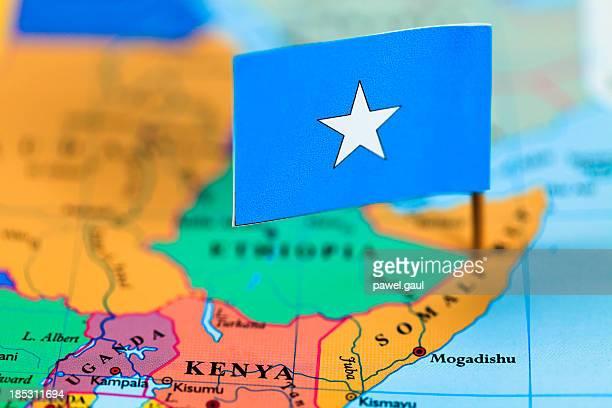Map and flag of Somalia