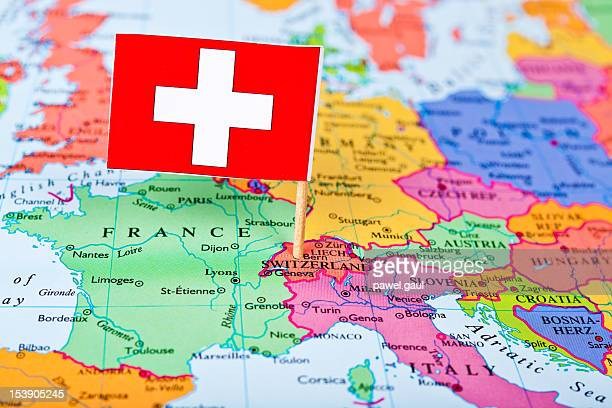 map and flag of switzerland - switzerland stock pictures, royalty-free photos & images