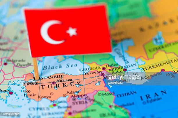 Map and flag of Turkey