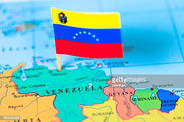 Map and flag of Venezuela