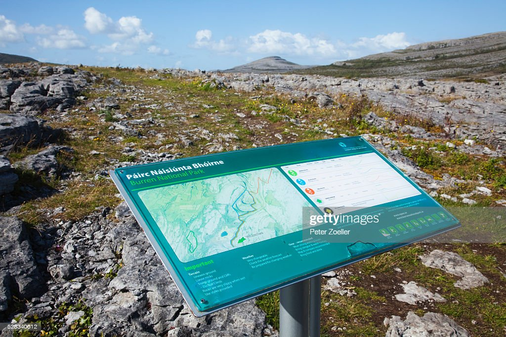 Map Of The Burren Ireland.A Map And Information Sign On A Post The Burren County Clare Ireland