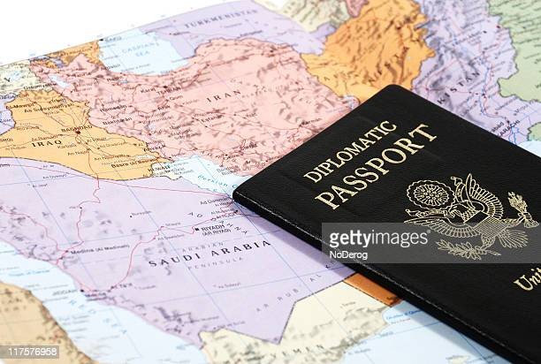 map and passport - diplomacy stock pictures, royalty-free photos & images