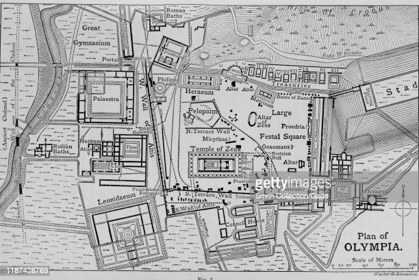 Map and plan of the Greek city of Olympia home of the ancient Olympic Games Greece showing gymnasium and Temple of Zeus 1910 Courtesy Internet Archive