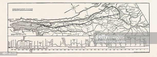 Map And Profile Of The New Aqueduct New York City United States Of America USA US America 1890