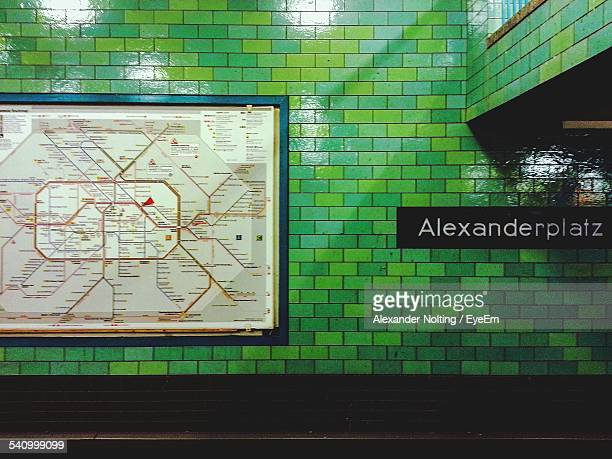 Map And Text On Wall In Underground Subway
