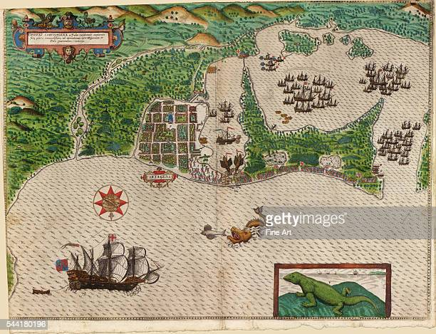 Map and views illustrating Sir Francis Drake's West Indian voyage 15851586 Published 1589