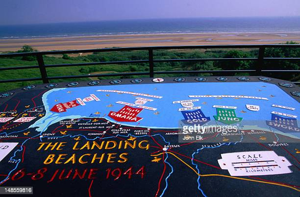 a map at omaha beach, explaining the historic d-day landings on normandy beaches during world war ii - arromanches stock pictures, royalty-free photos & images
