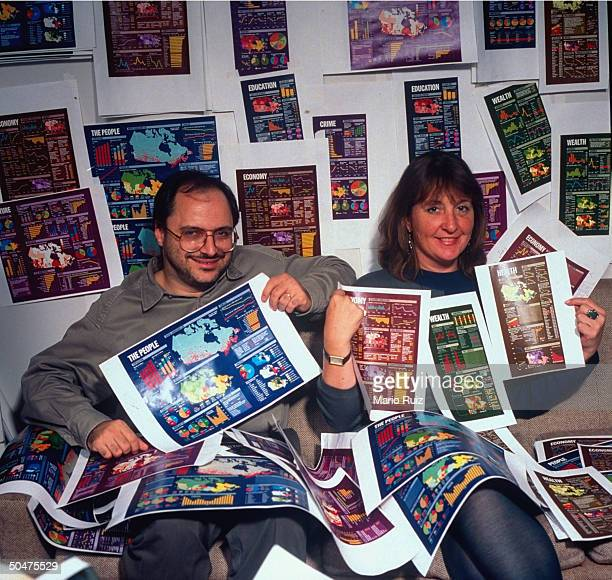 TIME map chart experts Joe Lertola Deborah Wells displaying their graphic designs for special Canada issue