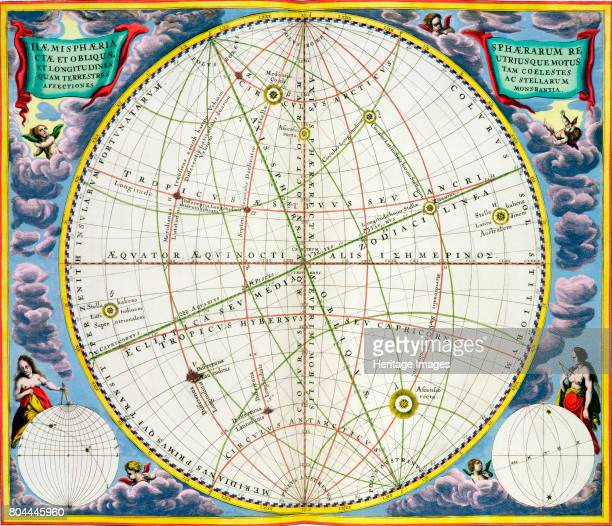 Map charting the movement of the Earth and Planets 16601661 From The Celestial Atlas or The Harmony of the Universe by Andreas Cellarius published by...