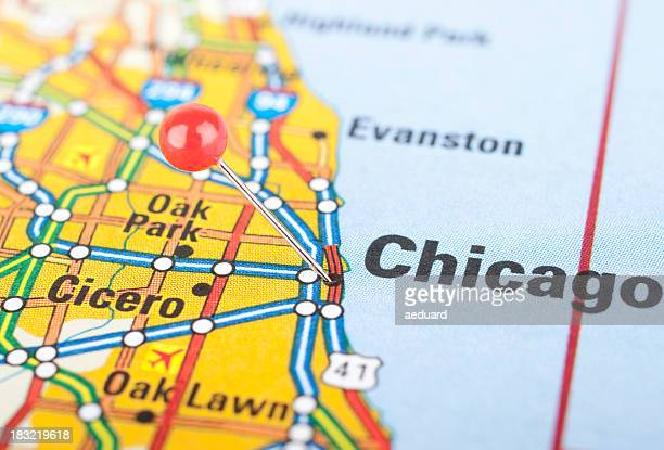 Map closeup of Chicago