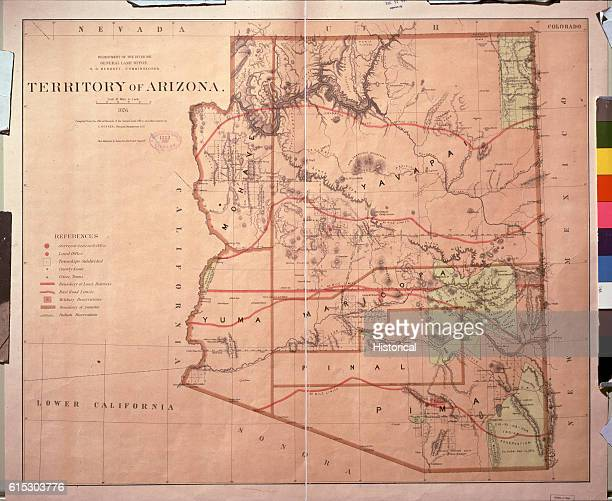A map commissioned by the Department of the Interior of the Territory of Arizona showing the counties Indian Reservations topography and the township...