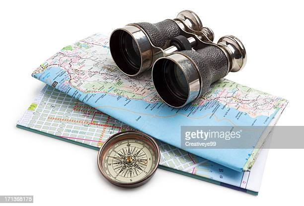 map, compass and binoculars - compass stock pictures, royalty-free photos & images