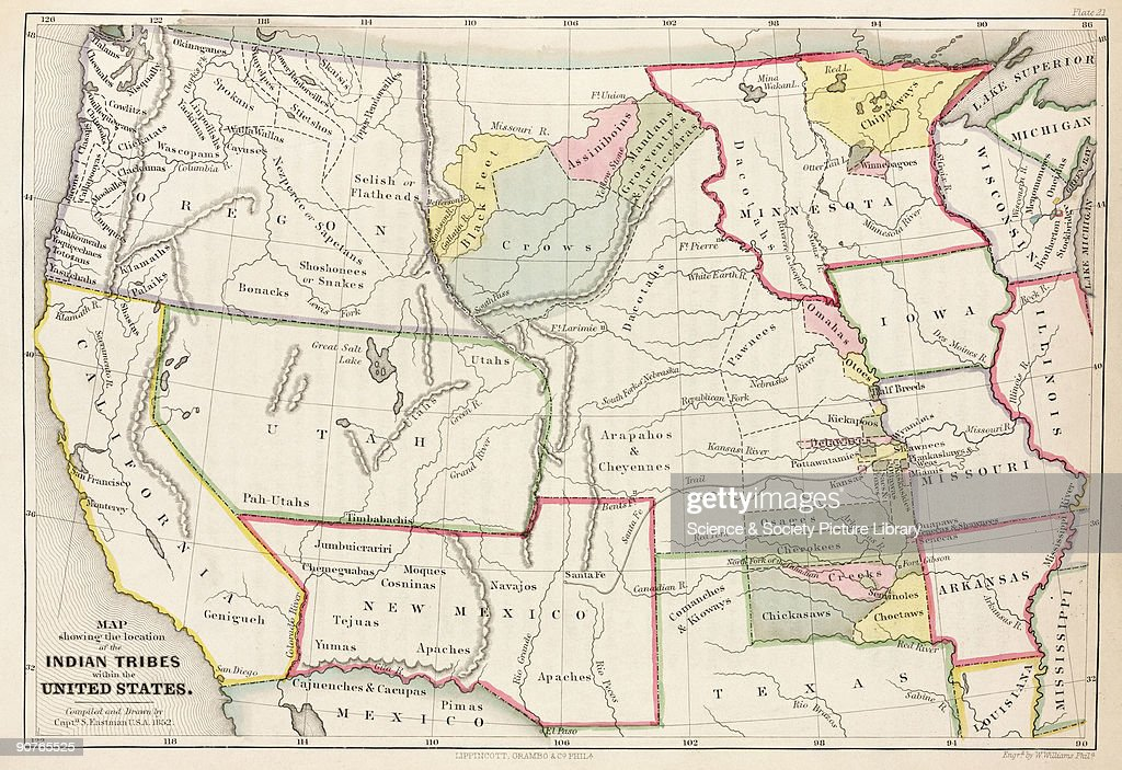Map Showing The Location Of The Indian Tribes Within The United - 1808 map of the us