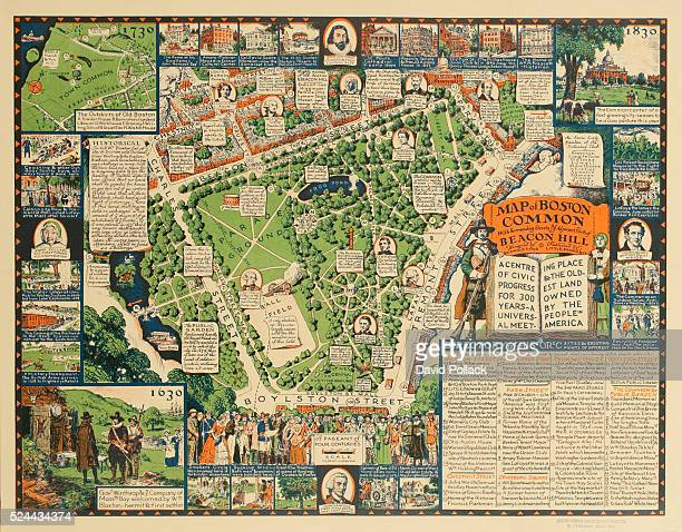 1930 map created for the Boston Commons Tercentenary Committee showing the history of the Commons over 300 years