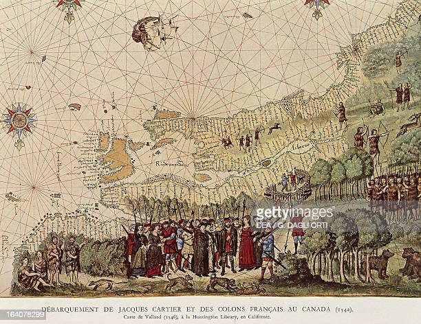 Map depicting the landing of Jacques Cartier and the French settlers in Quebec, Canada, facsimile of the map by Nicholas Vallard which was published...