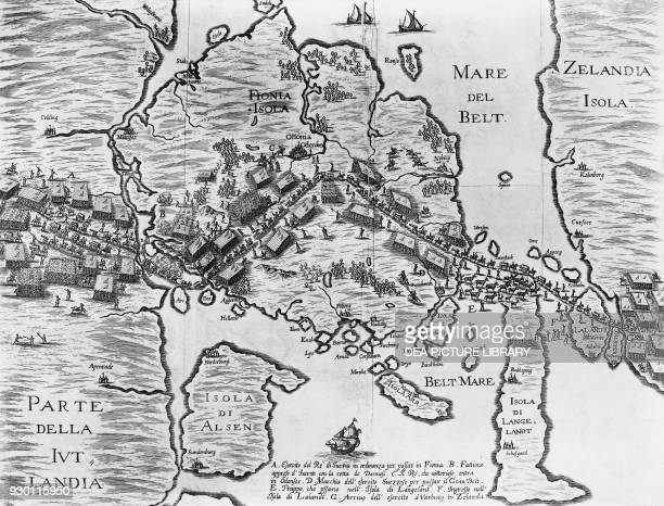 Map depicting the Swedish army crossing the island of Funen Denmark Second Northern War engraving 17th century