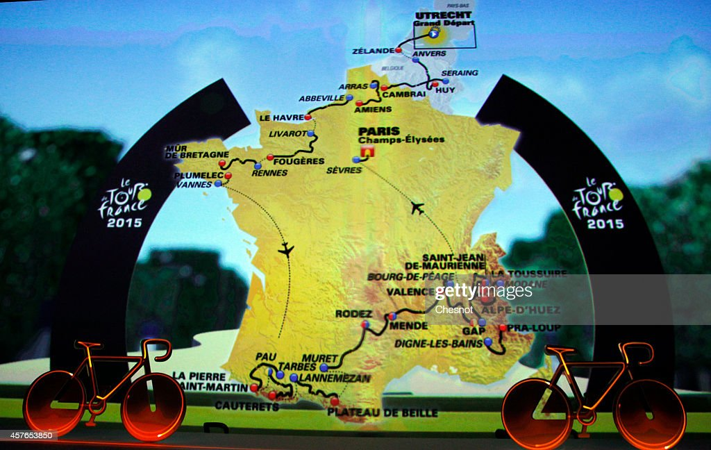 Cycling tour de france stage two york to sheffield pictures a map displays the route for the 2015 tourdefrance on october 22 2014 in paris gumiabroncs Images
