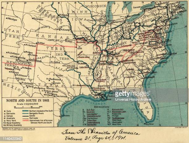 Map during American Civil War North and South in 1861 The Chronicles of America