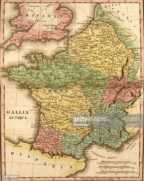 A map entitiled 'Gallia Antiqua' shows ancient France