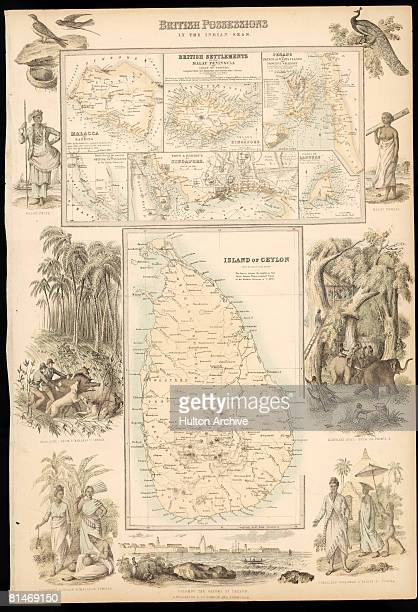 A map entitled 'British Possesions In The Indian Seas' with a main panel showing Ceylon and inserts showing Malacca Singapore Penang and Labouan...