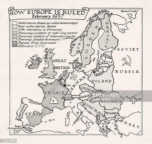 A map entitled 'How Europe is Ruled February 1937' showing the types of government in power in each of the countries of Europe The governments of the...
