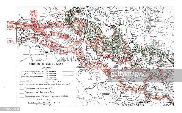 Map for railway transport for the troops in the Battle of Verdun during the First World War