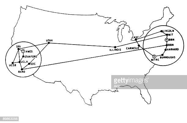 Map from 1972 showing the communication centers and relays of new communication systems ARPANET Network ARPANET