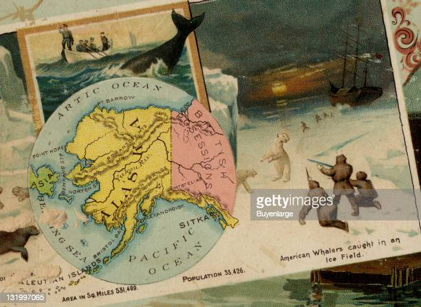 Map from 'Arbuckles' Illustrated Atlas of the United States of America' produced by the Arbuckle Brothers Coffee Company depicts the state of Alaska...