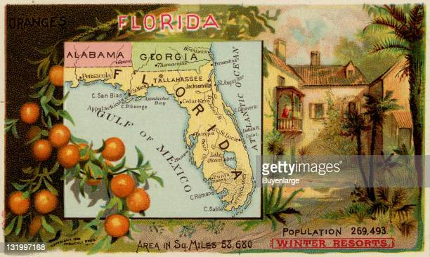 Map from 'Arbuckles' Illustrated Atlas of the United States of America' produced by the Arbuckle Brothers Coffee Company depicts the state of Florida...